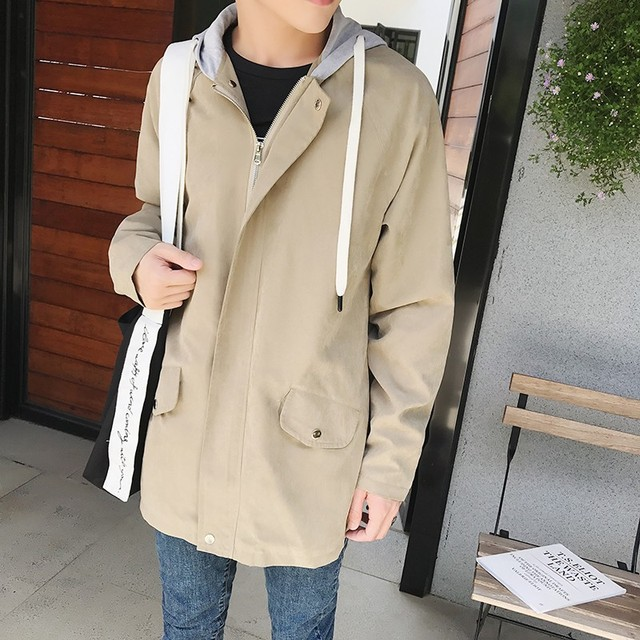 MIXCUBIC 2018 spring Korean style unique metal ring design jacket trench men casual loose hooded Windbreaker coats for men M-XXL