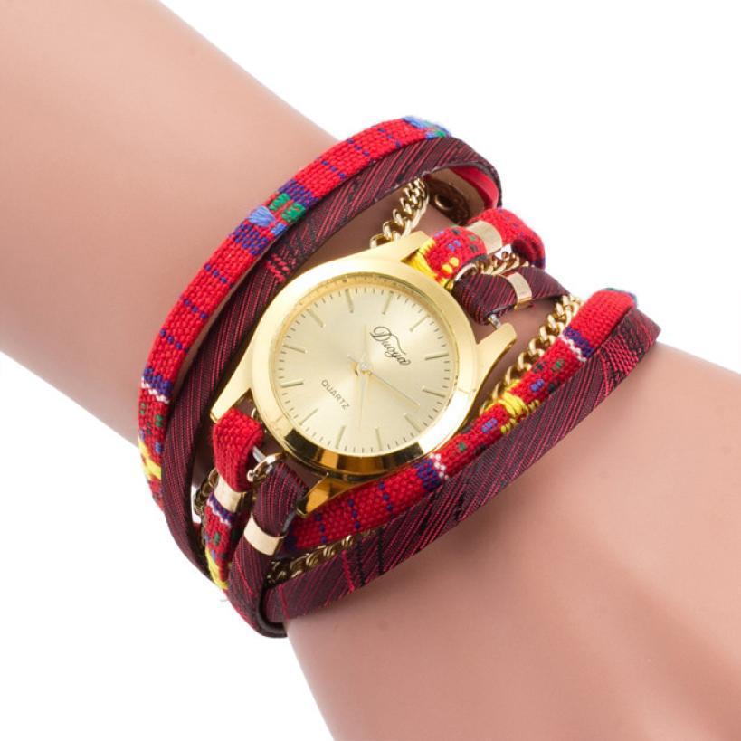 Женские Модные часы Обёрточная бумага Плетеный Искусственная кожа аналоговые кварцевые наручные часы Relogio feminino браслет Винтаж #50