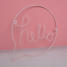 Nordic Style Iron Hello letters Wall Stickers for Kid Room Hanging Decorations Hallway Sign Welcome Art