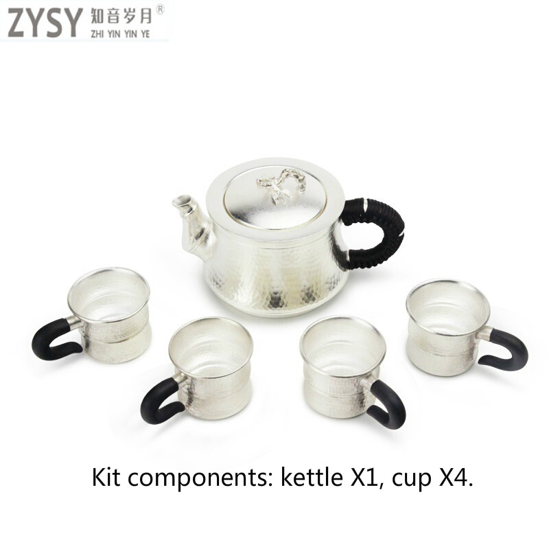 S999 Sterling Silver Kungfu Tea Set Portable Teapot Tea Cup Tea Set Tea Ceremony Teapot Set