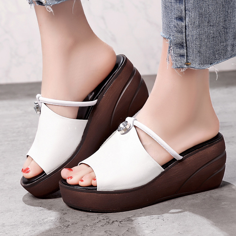YMECHIC 女性夏ウェッジプラットフォームシューズの女性白黒リアルレザーピープトウウェッジハイヒールプラットフォームスライドスリッパ  グループ上の 靴 からの スリッパ の中 1