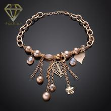 Popular Fashion Gold Color New Statement Elegant Crystal Leaf Flower Round Beads Charms Chain Necklace for Women Christmas Gift
