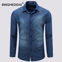 U S Size 2018 New Men Shirts Demin Patten Long Sleeves Social Shirt Turn Down Collar