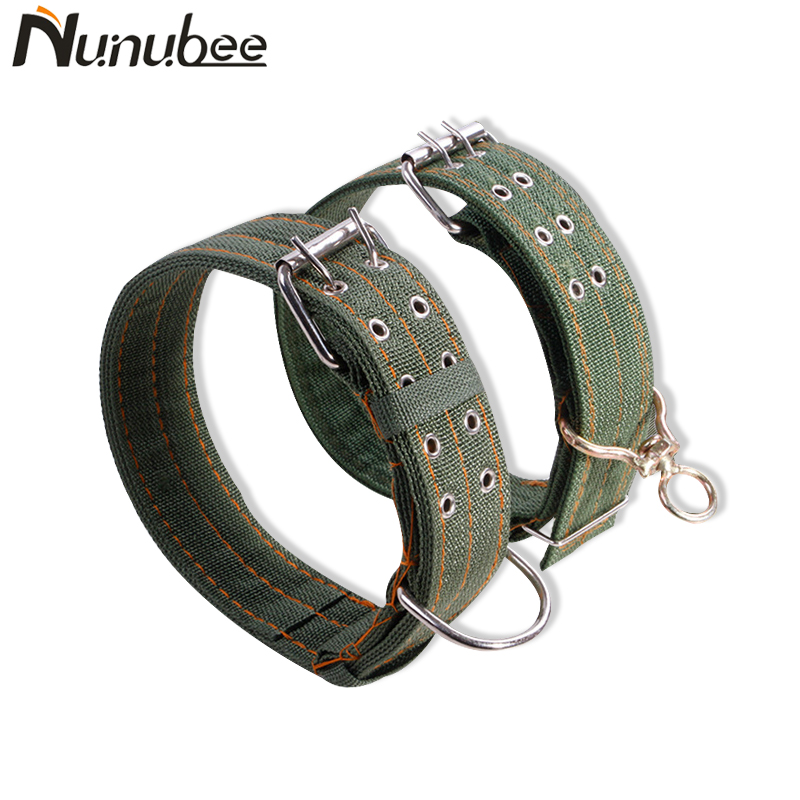 Nunubee Adjustable Army Green Canvas Pet Dog Collar for Medium Large Dogs Durable Double Row Buckle Pet Collar S M