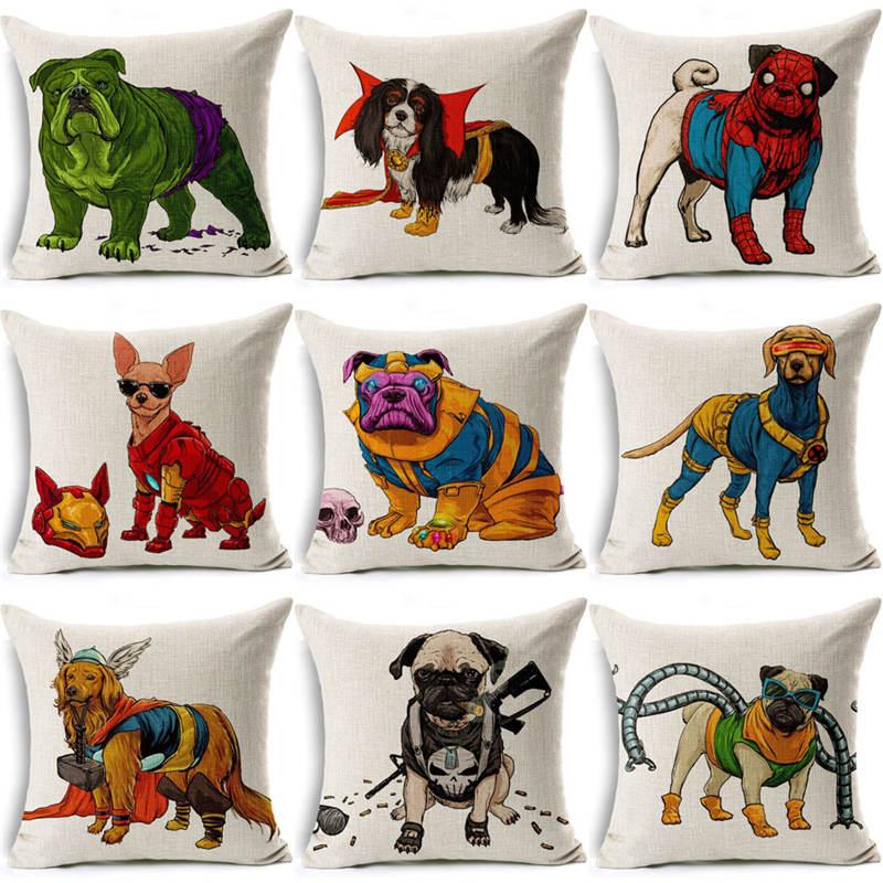 Nordic Dachshund Cushion Cover Cute Superman Dogs Pillow Cover Batman Bull terrier Pillow Case almofadas Home Decor Pitbull