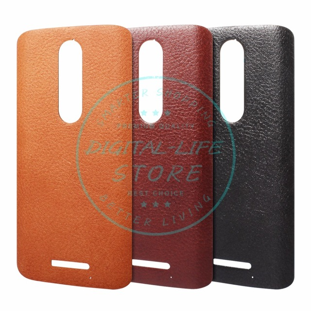 meet 8c324 9c1f4 US $22.87 15% OFF|for Motorola Droid Turbo 2 Leather Back Cover Battery  Case Natural Cognac Black Pebbled Leather Housing for Moto X Force-in  Mobile ...