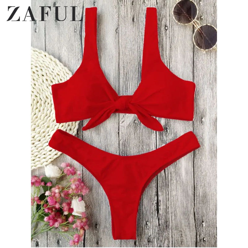 ee99419ecd5a6 Detail Feedback Questions about ZAFUL Bikini Knotted Padded Thong Bikini Set  Women Swimwear Swimsuit Scoop Neck Solid High Cut Bathing Suit Brazilian  Biquni ...