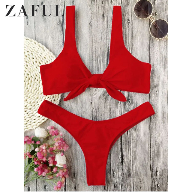 b1264f3d4786d ZAFUL Bikini Knotted Padded Thong Bikini Set Women Swimwear Swimsuit Scoop  Neck Solid High Cut Bathing