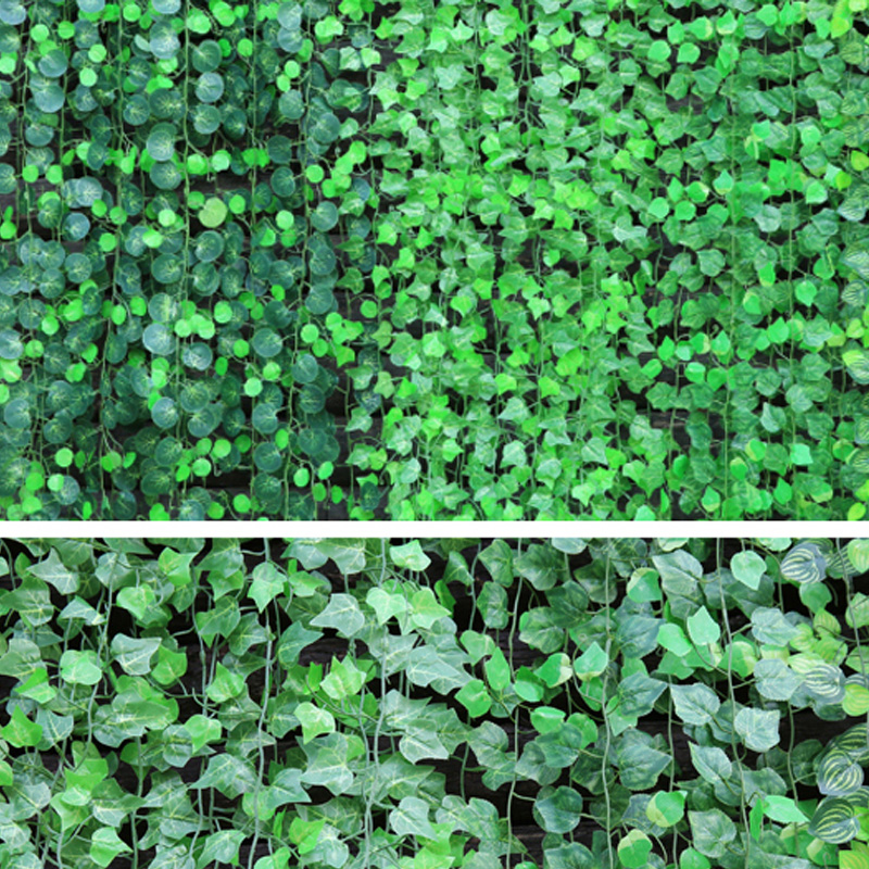 green leaves artificial ivy garland plants vine fake leaves foliage flowers wall hanging rattan garden wedding home decorations in Artificial Plants from Home Garden