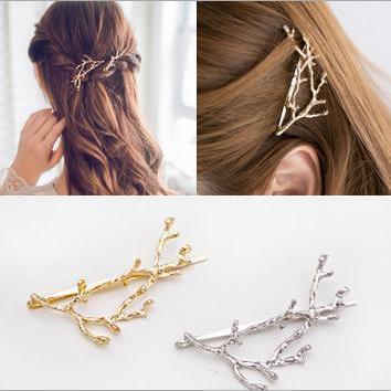 2018 Elegant Metal Tree Branch Hairpins Hair Clips For Women Barrettes Female Headwear Alloy Hair Accessories Hair Clip New