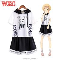 Summer Women Dress Lolita Kawaii Panda Lace up Hooded Dresses Harajuku Mori Students Cute Short Sleeve Two Piece Set Dress WXC