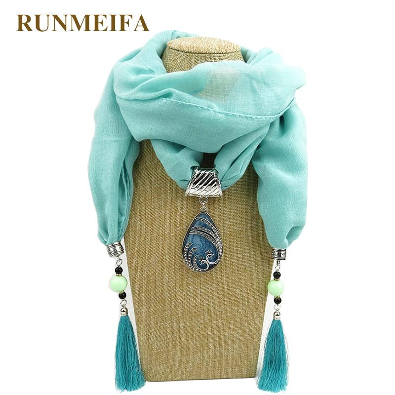 RUNMEIFA Frauen Musselin Schmuck Quasten Schal Halskette Anhänger - Bekleidungszubehör