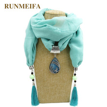 RUNMEIFA Women Jewelry Pendant Scarf With Tassels Female Pendant Necklace Neckerchief Scarves Lady Voile Scarf With Pendant beautiful 925 sterling silver white hetian jade dangle lock style design lucky pendant chain necklace fine jewelry charm gift