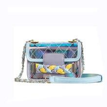 NEW 2018 PVC Plastic women handbag Chains Transparent shoulder Bag Blue  laser Jelly Clear Beach Bags c34d0a54eed01