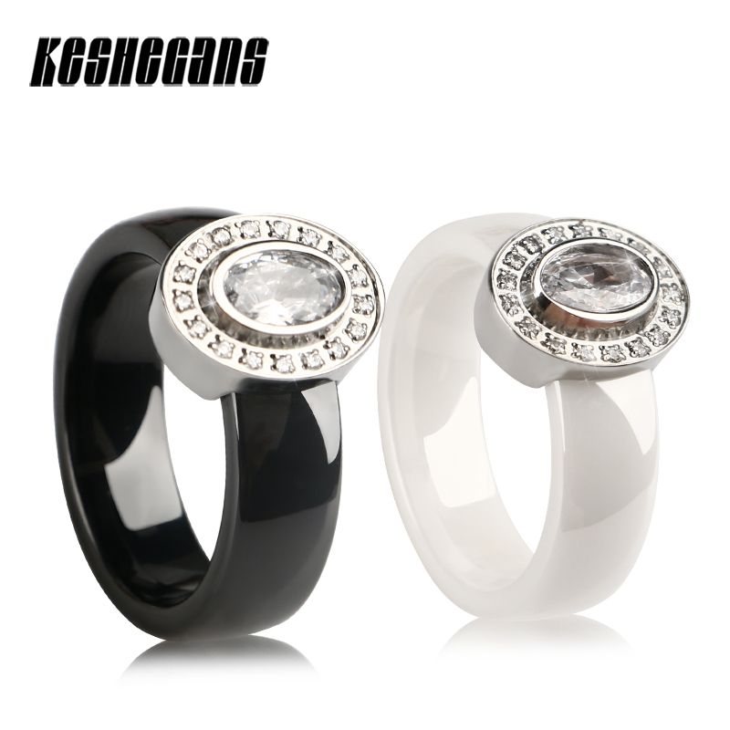 Black White Ceramic Rings Stainless Steel Rings Shining Big Cubic Zircon Unique Fashion Jewelry Rings For Women Lady Best Gifts big crystal rings black white smooth ceramic rings with bling big transparent rhinestone women fashion jewelry rings for women