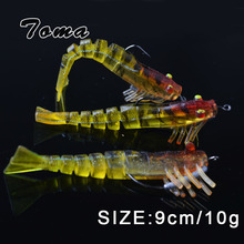 TOMA 3PCS/lot Soft Shrimp Fishing Lures Artificial Shrimp Baits 7g/10g/13g/19g Colors Soft Lure Bionic Bait With Lead Hook