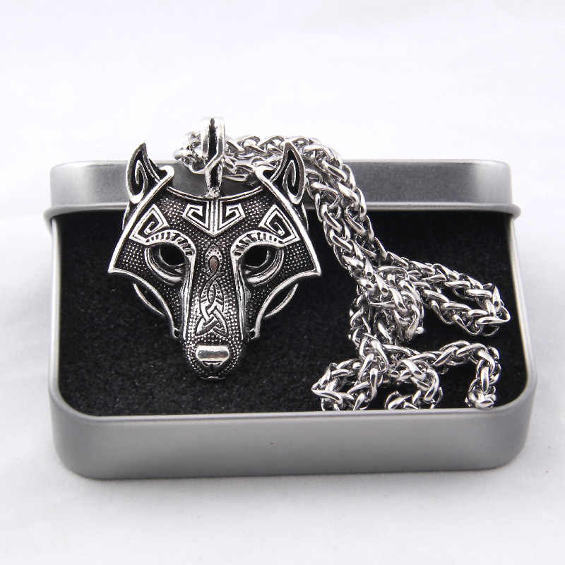 Yage 5Colors 1pcs Norse Vikings Pendant Necklace Norse Wolf Head Necklace Original Animal Jewelry Wolf Head hange