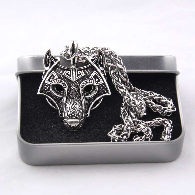 Yage 5Colors 1 unids Norse Vikings Colgante Collar Norse Wolf Head Collar Original Animal Jewelry Wolf Head hange