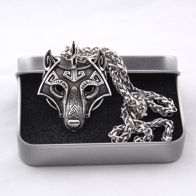 Vikings Norse Wolf Head Pendant Necklace