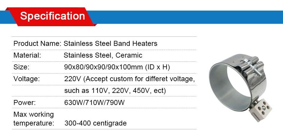 LJXH керамический ленточный нагреватель 220 В Внутренняя Dia.90mm высота 80 мм/90 мм/100 мм Мощность 630 Вт/710 Вт/790 Вт для пластмассовое устройство