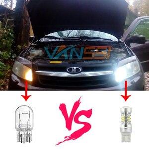 Image 5 - Vanssi T20 7443 7444 W21/5W Led Lampen Voor Lada Vesta Granta Kalina Accessoires Front Dimensie Licht Lamp wit Amber Geel Rood