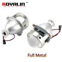 ROYALIN Car styling HID H1 Bi Xenon Headlight Projector Lens 3.0 Inch Full Metal LHD RHD for H4 H7 9005 9006 Auto Light Retrofit
