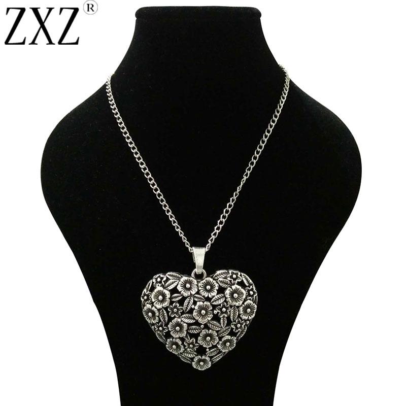 Lagenlook Jewellery: ZXZ LARGE ANTIQUE SILVER ABSTRACT METAL HEART SHAPE
