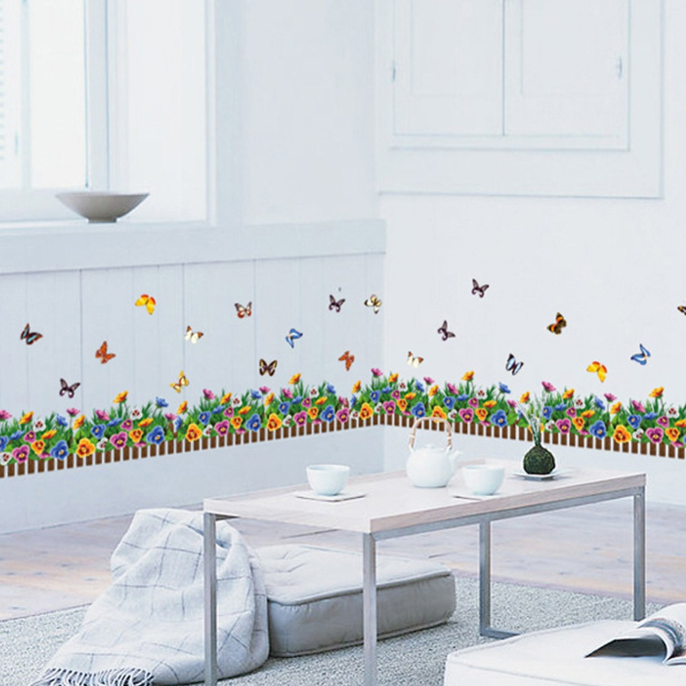online get cheap small butterfly decorations aliexpress com decoration grass small flowers butterflies skirting the living room wall stickers removable