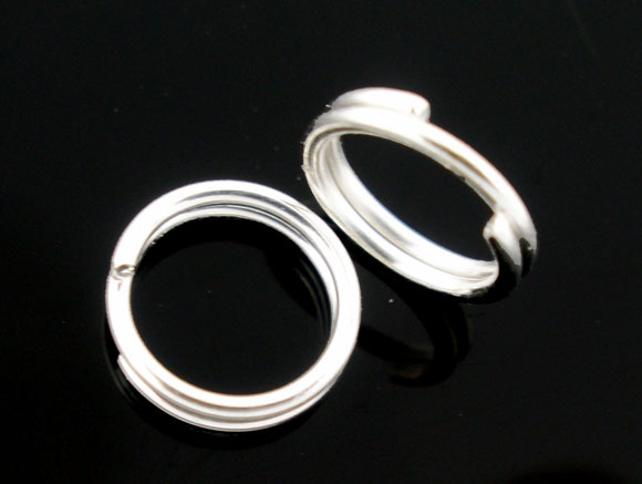 DoreenBeads 300 PCs Silver Plated Double Loops Open Jump Rings 6mm Dia. Findings New