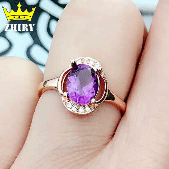 Natural amatista anillo joya Genuina sólida plata de ley 925 mujeres joyas de piedras preciosas