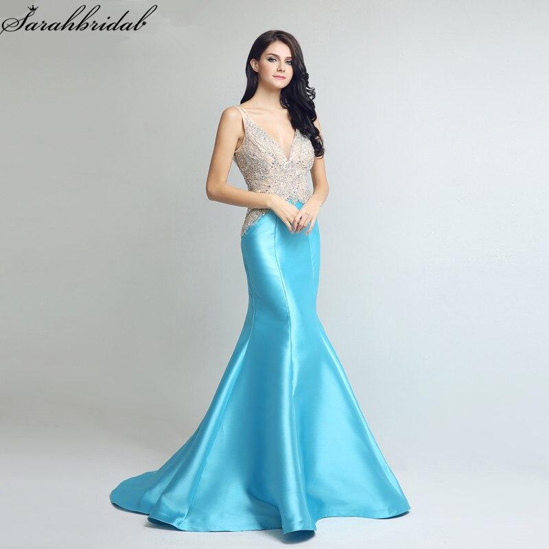 Sexy Ever Pretty   Evening     Dresses   Long Mermaid V Neck Zipper Sleeveless Floor Length Satin Crystal Robe De Soiree LSX248