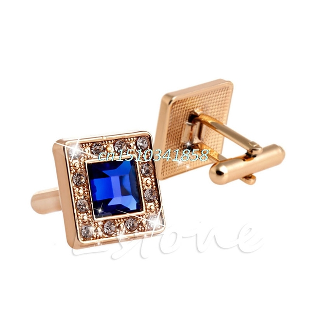 Men's Blue Gold Crystal Square Wedding Shirt Cuff Links Cufflinks