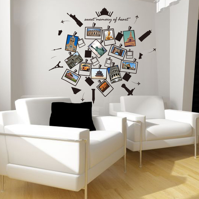 The Best Airbnb Cities For Home Decor Ideas: Personality Photo Frame Wall Sticker City Black Eiffel