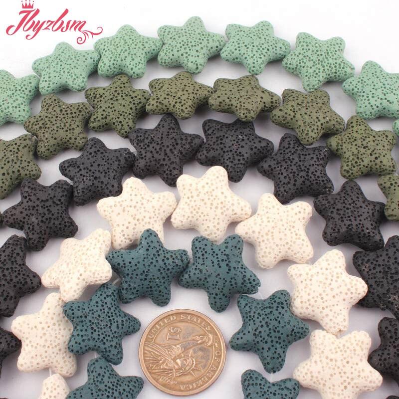 25mm Natural Star Shape Lava Rock Gem Stone Beads Strand 14.5