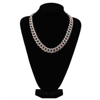 """Maimi Cuban Link Chain Necklace Men\'s Hip Hop Gold Color Iced Out Cubic Zircon Necklaces Jewelry Gifts 16\"""" -30\"""""""