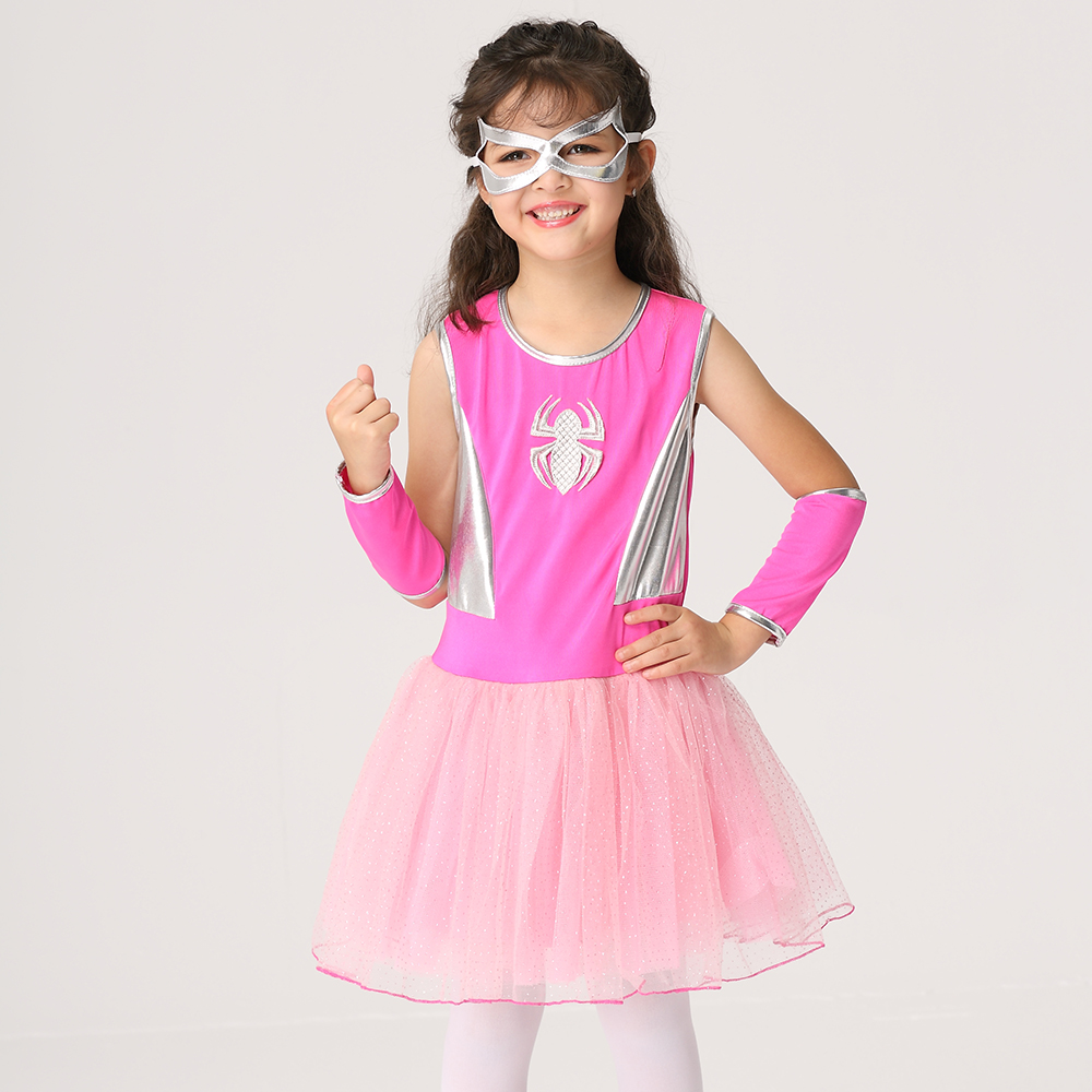 2018 Kids Cosplay Dress With Glove and Eye Patch Costume Spider Halloween Party Dress Princess Party Show Vestido Girls Clothes 4pcs gothic halloween artificial devil vampire teeth cosplay prop for fancy ball party show