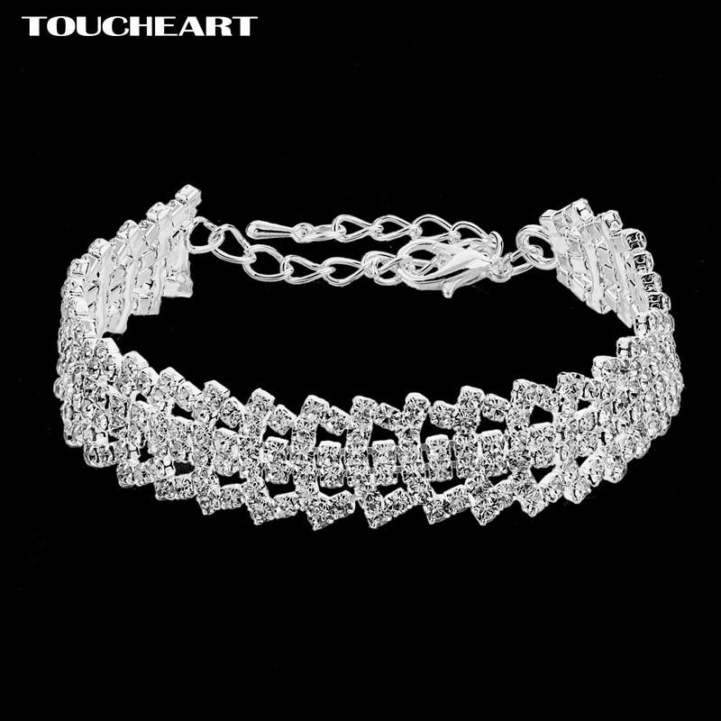 TOUCHEART Crystal Charm Bracelets Bangles Silver Color Bracelets Femme Bridal Wedding Jewelry SBR170073