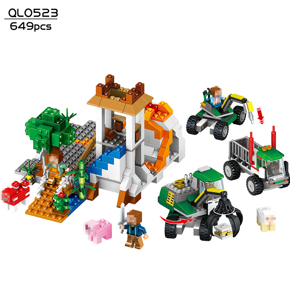 649pcs My World volcanic Detection Minecrafted Model building blocks compatible Legoed city enlighten brick toys for children 23 smartable building blocks of my world minecrafted lepin 4in1 steve with weapon figures brick model toys for children gift lr 823