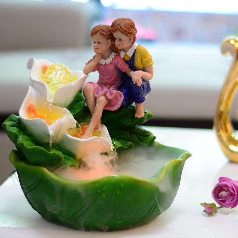 110/220 V Style Pastoral résine amoureux Feng Shui fontaine d'eau atomiseur maison humidifié purifiant Air bureau Table poisson réservoir cadeau