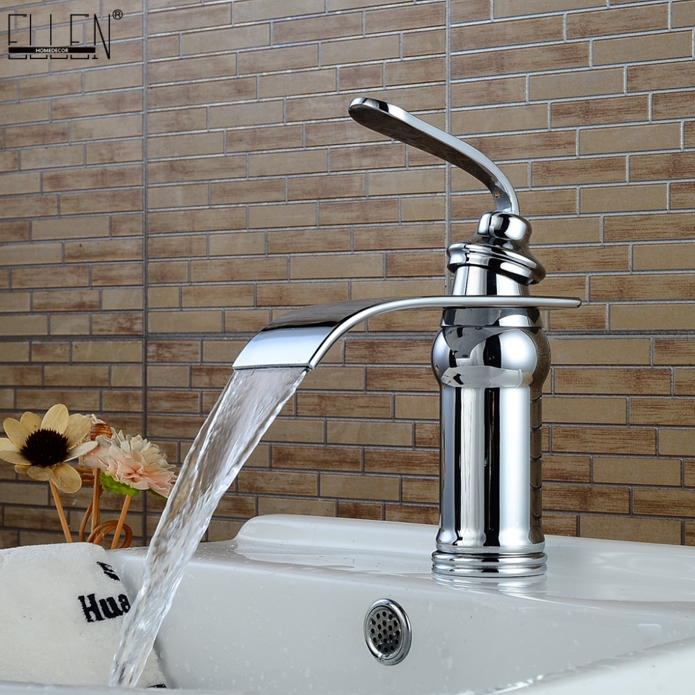 Waterfall Sink Faucet Bathroom Hot and Cold Water Copper Crane Mixer Deck Mounted Chrome advanced Faucets Finished ELM16Waterfall Sink Faucet Bathroom Hot and Cold Water Copper Crane Mixer Deck Mounted Chrome advanced Faucets Finished ELM16