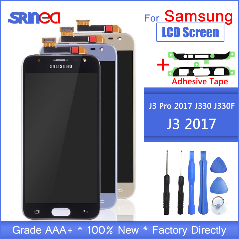 J330 LCD For Samsung Galaxy J3 2017 Replacement LCD Screen J330F SM J330FN LCD Display+Touch Screen Digitizer Assembly Adhesive-in Mobile Phone LCD Screens from Cellphones & Telecommunications