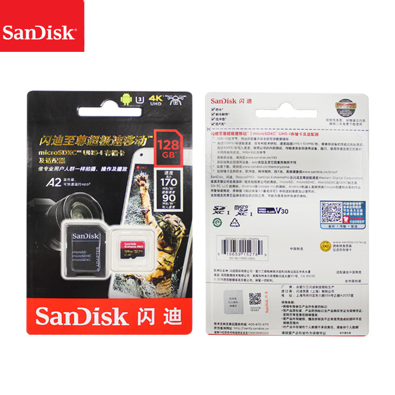 Image 5 - Original Sandisk Extreme Pro Micro SD Card up to 170MB/s A2 V30 U3 64GB 128GB 256GB Sandisk TF Card Memory Card With SD Adapter-in Micro SD Cards from Computer & Office