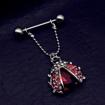 Rvs Bat Wing Nipple Shield Ring rood Lieveheersbeestje Piercing Barbell Sieraden 14g