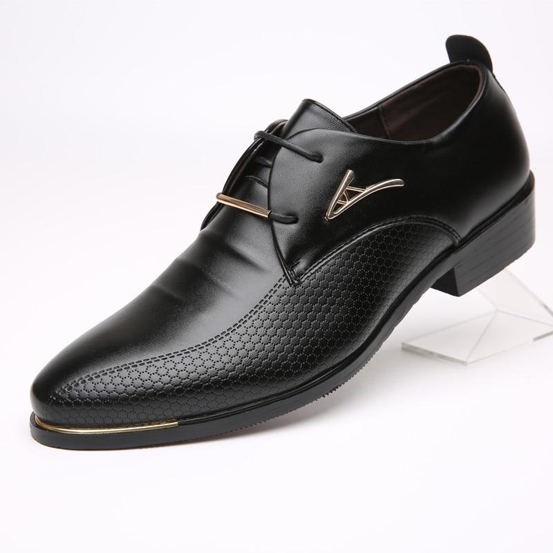 Luxury Brand Big Size Men Dress Shoes leather office Shoes Lace-up Men Business Oxford Shoes Men Wedding Pointd Shoes