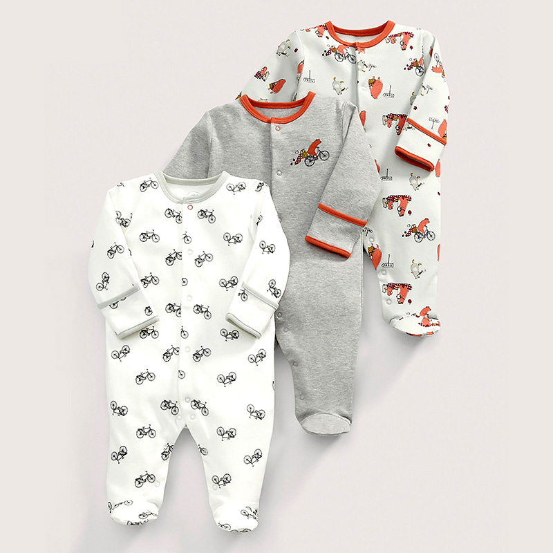 3pcs/lot Cartoon Cotton Baby Romper Newborn Long Sleeve Baby Boy Clothes Jumpsuit Infant Cute Clothes Overalls For Children cute newborn infant baby girl boy long sleeve top romper pants 3pcs suit outfits set clothes