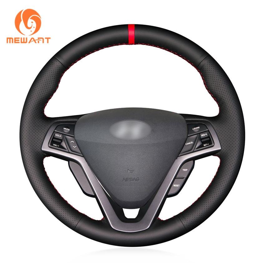 MEWANT Black Genuine Leather Car Steering Wheel Cover for Hyundai Veloster 2011 2012 2013 2014 2015 2016 2017 aosrrun car accessories sew genuine leather car steering wheel cover for chery tiggo 3 2011 2012 2013