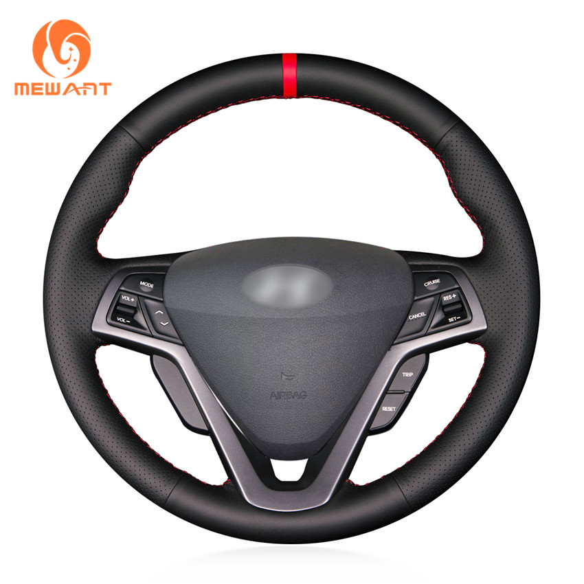 MEWANT Black Genuine Leather Car Steering Wheel Cover for Hyundai Veloster 2011 2013 2012 2014 2015 колье kameo bis kameo bis mp002xw13ntu