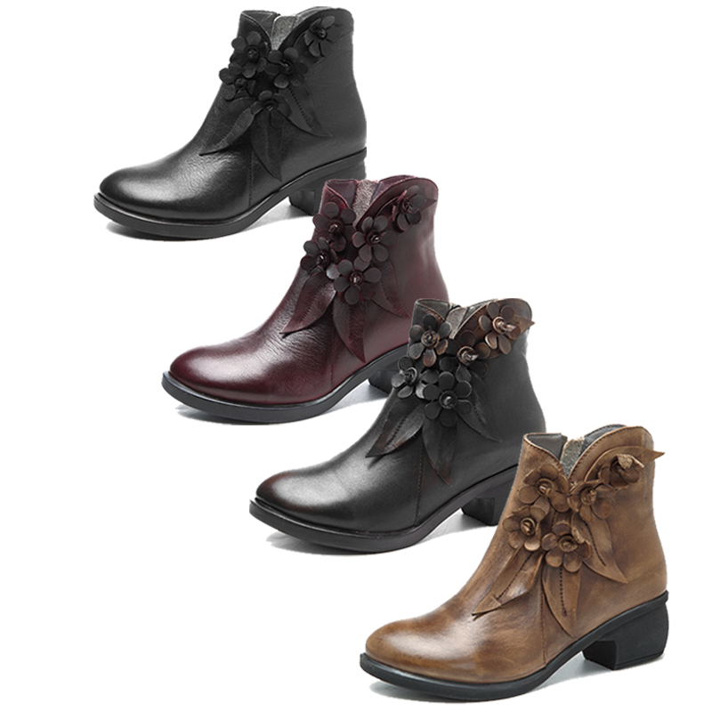 Socofy Genuine Leather Boots Women Shoes Large Size Vintage Flower Ankle Boots For Women Spring Winter Shoes Zipper Ladies Shoes-in Ankle Boots from Shoes    2