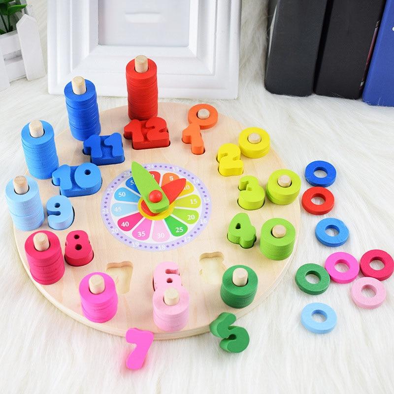 Preescolar bebé Montessori juguetes de la educación temprana de enseñanza SIDA juguetes reloj Digital de juguete de madera con forma geométrica juego