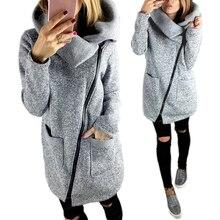 Для женщин осень Зимняя одежда теплая флисовая куртка косые молнии воротником пальто леди Костюмы женский пиджак